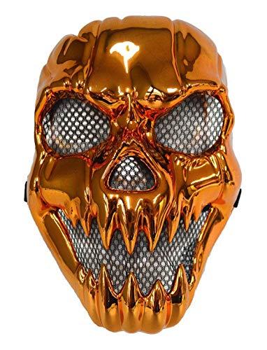Karnevalsbud - Kostüm Accessoires Zubehör Metallic Horror Maske Totenkopf Biker, Mask Skull Rider, perfekt für Halloween Karneval und Fasching, Bronze