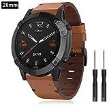 TOPsic Armband Fenix 6X/Fenix 6X Pro, 26mm Uhrenarmband Leder Uhrenbänder Quick Release Easy Fit Ersatzarmband Zubehör für Fenix 5X/Fenix 5X Plus/Fenix 6X/Fenix 6X Pro/Fenix 3/Fenix 3 HR