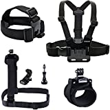 Smatree® 7 in 1 Gopro Accessories kit or Gopro HD Hero 4/3+/3/2/1 Camera including Head Strap Mount+Chest Strap Mount+Shoulder Harness Mount+360 Degree Rotating Wrist Mount+Hat Clip+Aluminum Thumb Screws+J-hook