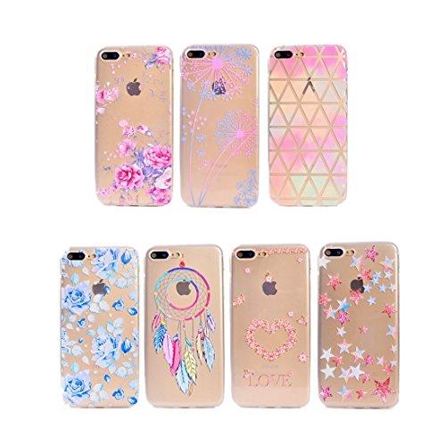 Hülle für iPhone 7 plus , Schutzhülle Für iPhone 7 Plus Bunte blaue Blumenmuster Soft TPU Schutzhülle ,hülle für iPhone 7 plus , case for iphone 7 plus ( SKU : Ip7p5010b ) Ip7p5010d