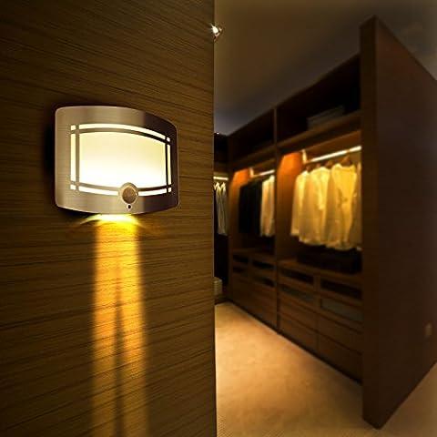 HueLiv Applique Murale LED sans Fil, Détection Mouvement et Lumière, Fonctionnement sur Pile, pour Chambre, Couloir, Escalier, Entrée, Sous-Sol
