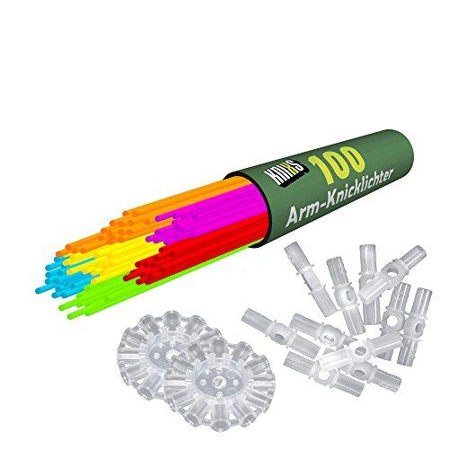 KNIXS - 100 Knicklichter, seit 10 Jahren in Profiqualität, deutsche Testnote: 1,6 / dazu 100 x 3D-Verbinder + 2 extra Ballverbinder, 6 Farben SUPERMIX