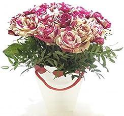 10 zweifarbige Rosen in Herztasche