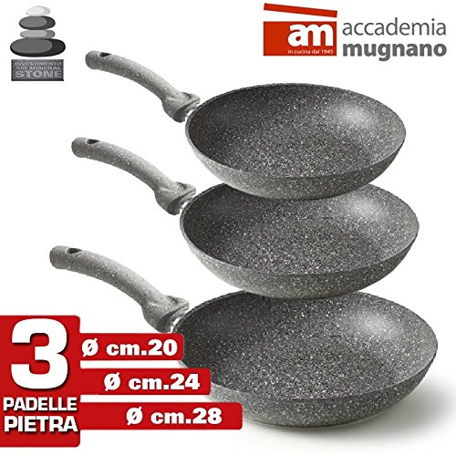Accademia Mugnano–Juego 3Sartenes de piedra antiadherentes Mineral Heart Stone cm 20–24–28(3pezzi) Made in Italy