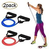 AXYSM Bandas de ejercicios y bandas de resistencia 2, tubos de resistencia con mangos de espuma 2 niveles: medio/pesado para Pilates, yoga, fisioterapia, rehabilitación y mejora de la movilidad