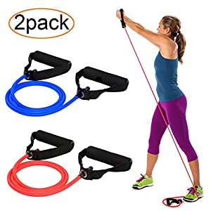 AXYSM Exercise and Resistance Bands 2 Set, Resistance Tubes with Foam Handles 2 Levels - Medium/Heavy for Pilates, Yoga, Physical Therapy, Rehab & Improving Mobility