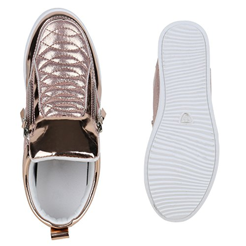 Damen Sneakers Keilabsatz Sneaker-Wedges Lack Metallic Rose Gold