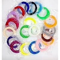 3D Impresión Filamento 20 Colores 5M 1.75mm PLA Material para Pen Impresora 3D (16.4 Pie Longitudes de 328 Pies Lineales)