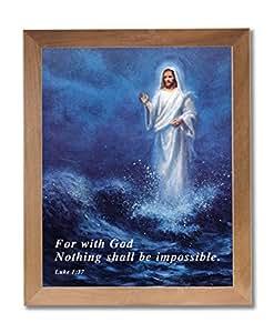 Jesus Christ Religieux Walking On Water miel Tableau Affiche encadrée