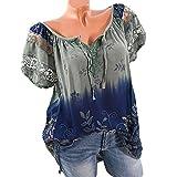 OYSOHE Damen T-Shirt, Spitze Gedruckte Kurzarm V-Ausschnitt Tops Lose T-Shirt Bluse (4XL, Armeegrün)