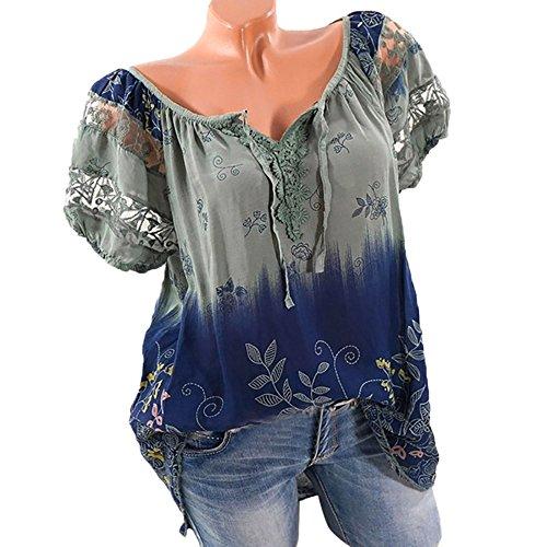 OYSOHE Damen T-Shirt, Spitze Gedruckte Kurzarm V-Ausschnitt Tops Lose T-Shirt Bluse (5XL, Armeegrün) (Rock Vogue Neckholder)