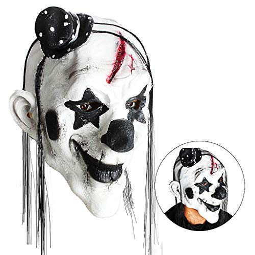 Fanfan Beängstigende Clown-Maske, Horror-Creepy Latex-Clown-Masken Für Erwachsene Haunted Haus Dressing Halloween-Kostüm Masquerade Party Cosplay Requisiten (Teufel Clown) (Kostüm Beängstigend Frau)