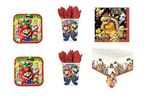 Super Mario Bros und Luigi Party-Kit N ° 6CDC-(8Teller, 8Becher, 20Servietten, 1Tischdecke) (Bros Mario 1 Super 6)