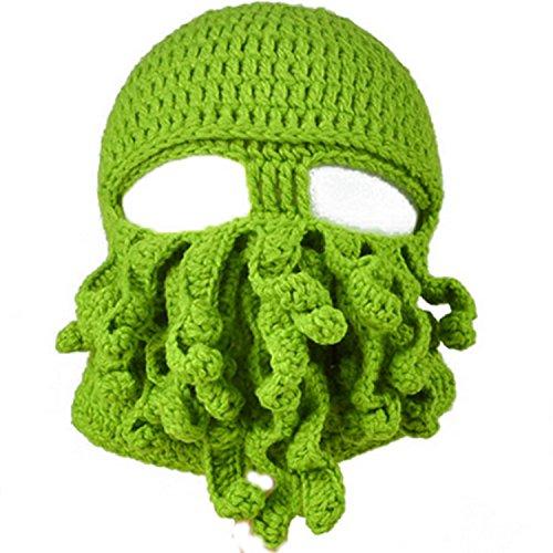 Belsen Cappello NEUTRO calamarofatto a mano polpo berretto di lana Berretto Inverno Cap (verde)