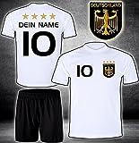 ElevenSports Deutschland Trikot + Hose mit Gratis Wunschname + Nummer + Wappen Typ #D 2020 im EM/WM Weiss - Geschenke für Kinder,Jungen,Baby. Fußball T-Shirt Personalisiert als Weihnachtsgeschenk