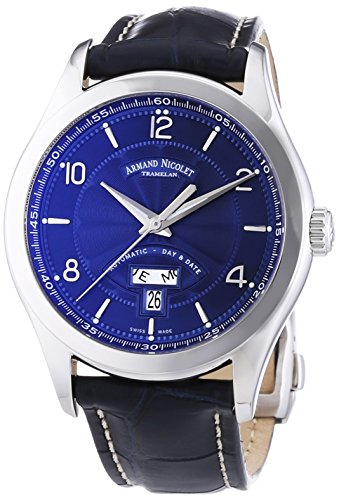 Armand-Nicolet-Mens-Automatic-Watch-with-Blue-Dial-Analogue-Display-and-Blue-Leather-Strap-9740A-BU-P974BU2