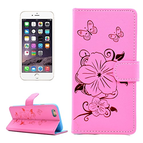 Phone case & Hülle Für iPhone 6 / 6s, Bronzing Butterfly Pattern Horizontale Flip PU Ledertasche mit Halter & Card Slots & Wallet ( Color : Yellow ) Pink