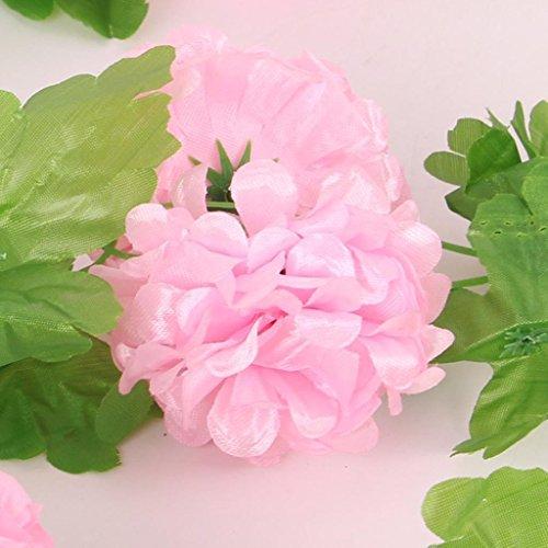 ELECTROPRIMEÃ?â??® 2Pcs Artificial Silk Hydrangea Ivy Vine Wedding Party Home Decor Pink