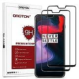 OMOTON [2 pièces Oneplus 6 Film Verre Trempé [Couvir l'écran Complèt] [sans Bulles] Protection- Protecteur Ecran Noir (6.28 Pouces)