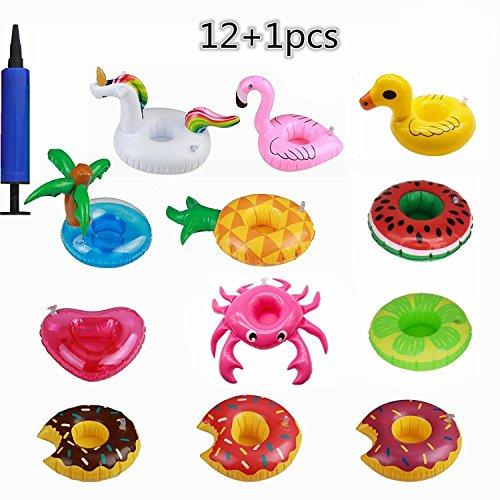 OCMCMO 12pcs Prácticos de costa inflables de la fruta posavasos de flotador unicornio inflador flamenco colchonetas y juguetes hinchables de niños adultos fiesta piscina- Agregar 1* Bomba de aire