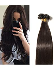 Extensions Keratine Pose a Chaud Extension Cheveux Naturel 100 Mèches/50g #02 Brun - Pre Bonded Nail U Tip Remy Human Hair Extensions - 50cm