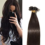 Extensions Keratine Pose a Chaud Extension Cheveux Naturel 100 Mèches/50g #02 Brun - Pre Bonded Nail U Tip Remy Human Hair Extensions - 40cm