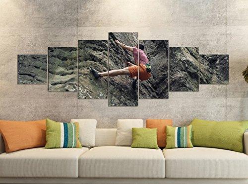 Leinwandbilder 7 Tlg 280x100cm Freeclimbing Felsen Klettern Extrem Leinwand Bild Teile teilig Kunstdruck Druck Vlies Wandbild mehrteilig 9YB819, Leinwandbild 7 Tlg:ca. 280cmx100cm