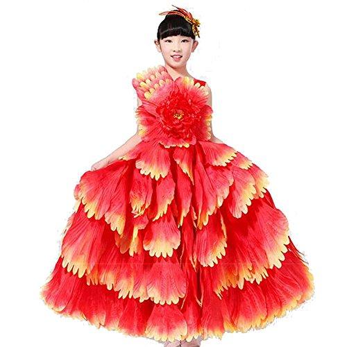 Spanisch Jazz Kostüm (Wgwioo Kinder Flamenco Kleid Zeigen Kleidung Spanisch Rock Mädchen Moderne Tanz Big Swing Chorus Stierkampf 180 360 540 720 Grad Leistung , Red Skirt 540 ,)