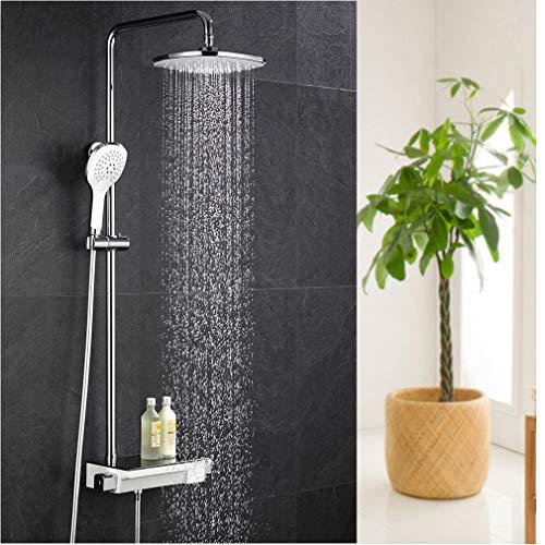 ubeegol Regendusche Thermostat Duschsystem Duscharmatur Aufputz Duschset Duschgarnitur Duschstange Überkopfbrause Dusche Set für Bad
