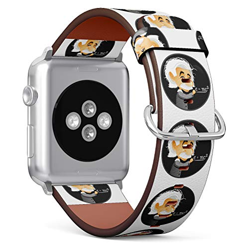 R-Rong kompatibel Watch Armband, Echtes Leder Uhrenarmband f¨¹r Apple Watch Series 4/3/2/1 Sport Edition 42/44mm - Albert Einstein Cartoon Illustration Albert Von Apple