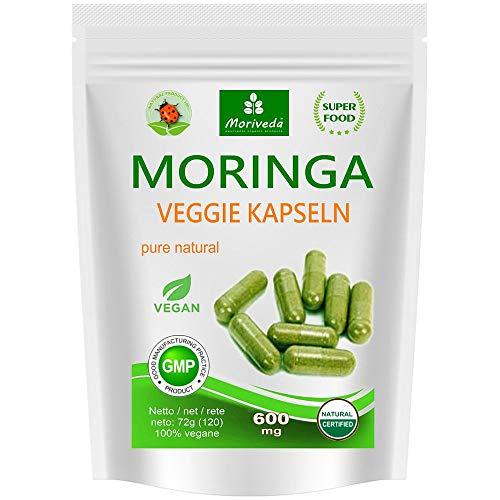 Moringa 120 oleifera 'veggie' altas dosis de 600mg cápsulas - 100% de alimentos crudos vegano (1x120 cápsulas)