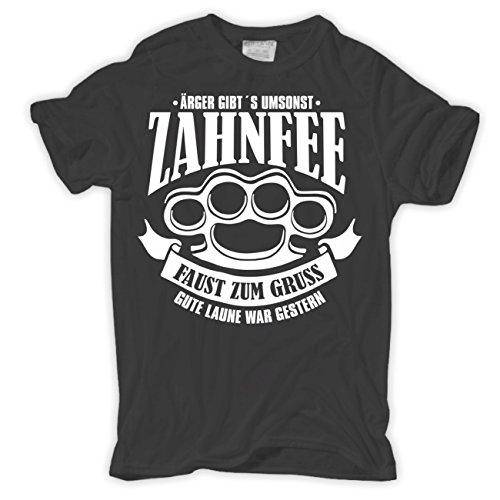 Männer und Herren T-Shirt Zahnfee - Faust zum Gruss Körperbetont grau