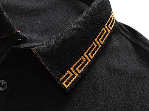 ECTIC Uomo Men Poloshirts Short Sleeve Business Polo Shirts M-XXXL V2204 Black