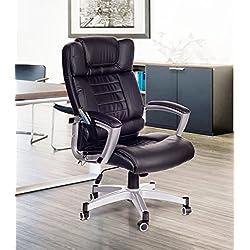 Poltrona da ufficio massaggiante nera, sedia da studio con massaggio 4 punti