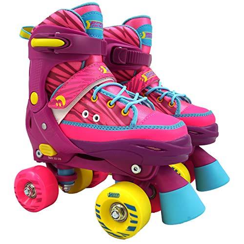 Best Sporting Unisex Jugend Rollschuhe für Kinder und Jugendliche, verstellbar mit ABEC 7 Carbon Kugellager, Farbe: pink, Größe: 32-35