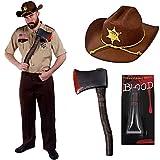 Déguisement du célèbre shérif chasseur de zombie de la série américaine avec la chemise + le pantalon + le chapeau + une hache + sang. Ideal pour les fêtes d'Halloween. ( Medium )