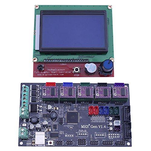 Asiright - Placa base 3D MKS GEN V1.4 + pantalla LCD 12864 + 5 controladores DRV8825