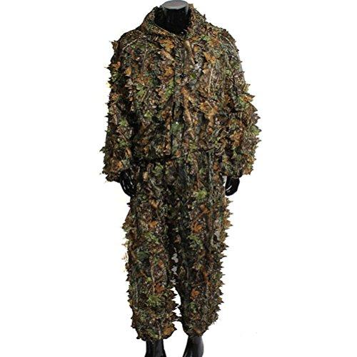 WINOMO Woodland Blätter Camouflage Kleidung Camo Ghillie Anzug Set 3D für Dschungel Wald Jagd, Wildlife Fotografie oder Halloween