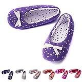 TWINS Fashion « Rio » schöne & süße Damen-Hausschuhe I Ballerinas I Pantoffeln I Slippers - Plüsch Baumwolle rutschfest - diverse Farben (36/37, Lila)