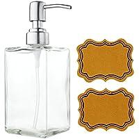 Dispensador de Jabón Limpio de Vidrio y Acero Inoxidable Rellenado de Botellas de Transparente Rectangular de Lavavajillas de Jabón Líquido para Baño,Cocina y Oficina (500ml / 16oz)