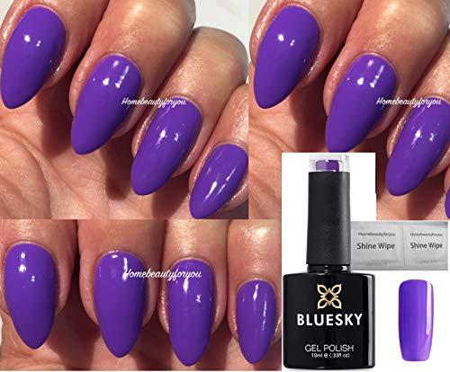 Blue Sky 80641vidéo Violet Violet vif New Wave Vernis à ongles gel UV LED Soak Off 10ml Plus 2LuvliNail Shine Wipes
