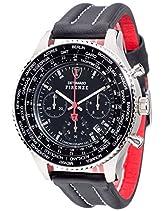 DETOMASO Herren-Armbanduhr Firenze mit silbernem Edelstahl-Gehäuse und schwarzem Zifferblatt.Klassische Herren-Uhr mit einem XXL-Durchmesser.