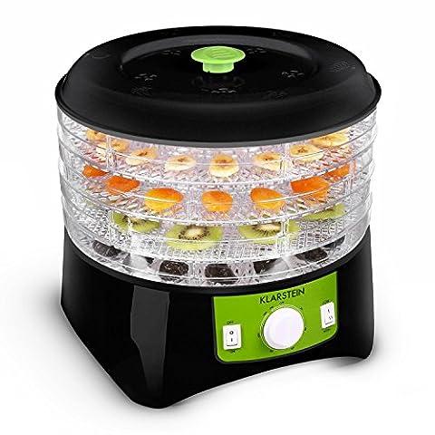 Klarstein Appleberry Dörrgerät Dörrautomat Obst- Fleisch- und Früchte-Trockner (400W Dehydrator, 4 Etagen, 2 Temperaturstufe, Zeitschaltuhr, BPA-frei) schwarz-grün
