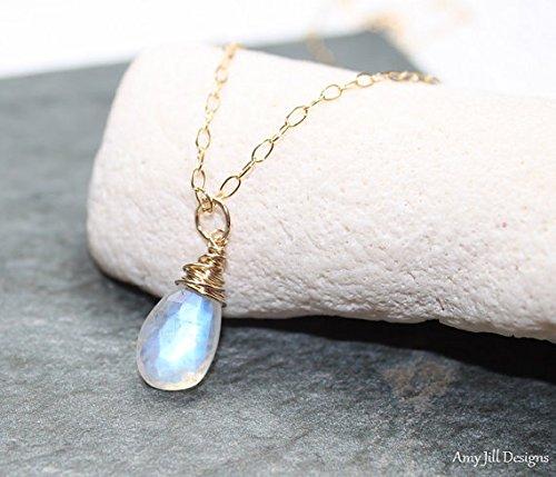 Rainbow Mondstein Halskette, Gold gefüllt, Mondstein Draht Wrap Anhänger, blau, Flash, Mondstein Schmuck, Edelstein Schmuck 40,6cm Strähne. (Rainbow Jewel Halskette)