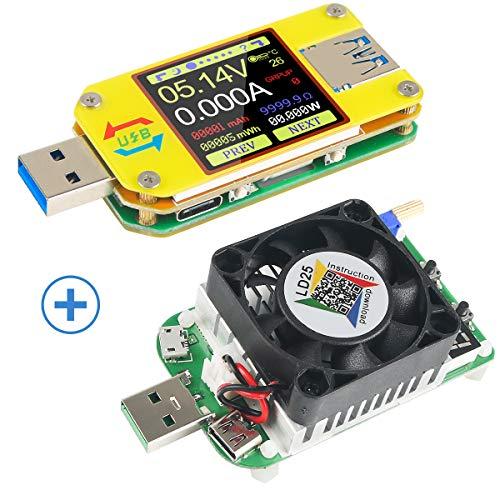 UM34C USB 3.0 Multímetro Bluetooth USB Voltímetro Amperímetro y USB Electronic Load Tester Resistor USB Voltage Current Capacidad de la batería Capacidad del cargador Temperatura de carga Tester