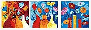 Wowdecor - Kit dipingere con i numeri per adulti e ragazzi, anziani e principianti. Set di 3 pezzi raffiguranti vasi di fiori astratti. Dimensioni 40,6 x 50,8 cm Framed
