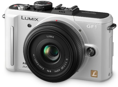 Panasonic Lumix DMC-GF1KEG-W Systemkamera (12 Megapixel, 7,6 cm Display, HD-Video, LiveView, Bildstabilisator) inkl. 14-45 mm Objektiv perlmutt-weiß Panasonic Lumix Digital Slr