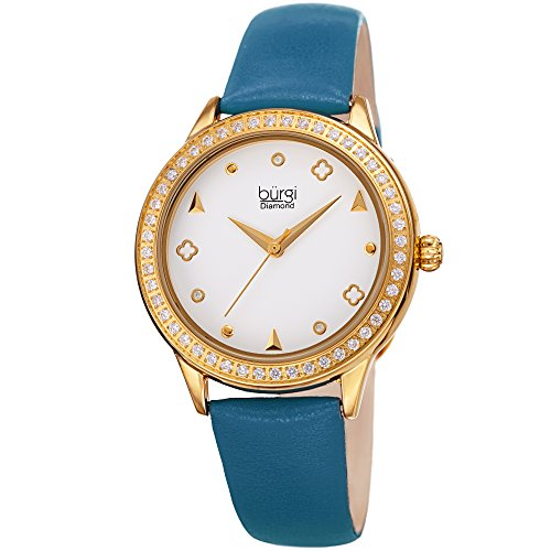 Burgi Leather Women's Watch - Smooth Leather Strap - Three Hand Movement with Unique Markers - Onion...