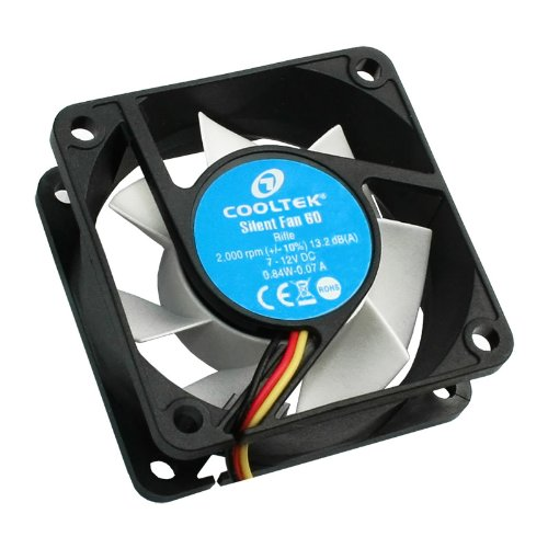 Cooltek Silent Fan 60, 60 mm Lüfter, Rifle-Bearing, 13,2 dBa, 2.000 U/min, 25,6 m³/h, 3-Pin Molex