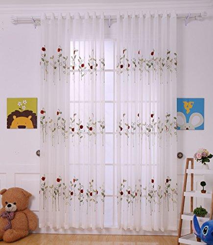 Hbbmagic giraffe design ricamo tulle tenda per cameretta dei bambini, stanza dei bambini e baby room, motivo con giraffa, w 51(in)*h(85)(in)